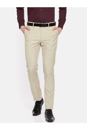 Ralph Lauren Men Beige Super Slim Fit Solid Formal Trousers