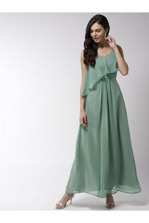 MISH Women Green Solid Maxi Dress