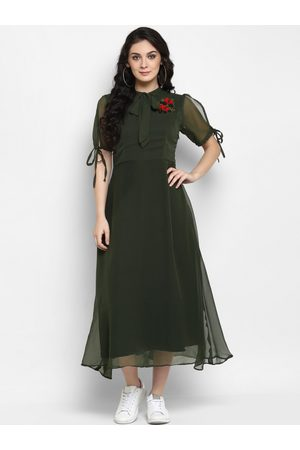 2861a5f225 Zima Leto Women Green Solid Fit and Flare Dress with Embroidered Detail