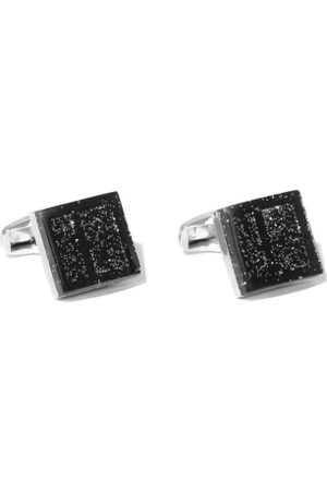 Lino Perros Black & Steel-Toned Square Cufflinks with Glitter Detail