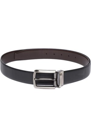 Lino Perros Men Black & Coffee Brown Textured Reversible Leather Belt