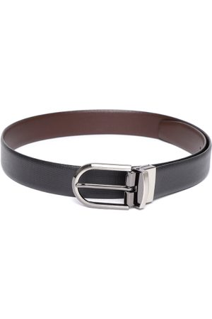 Lino Perros Men Black & Coffee Brown Textured Reversible Leather Belt