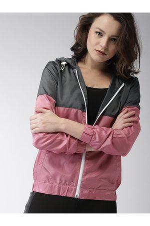 Mast & Harbour Women Grey & Pink Colourblocked Sporty Jacket