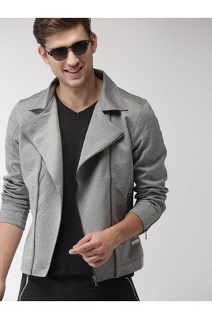 Mast & Harbour Men Grey Solid Tailored Jacket