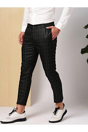 Invictus Men Black Slim Fit Checked Formal Trousers