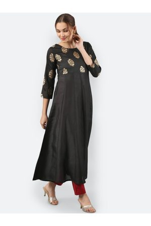 Janasya Women Black Solid Anarkali Kurta