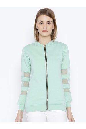Belle Women Mint Green Solid Sweatshirt
