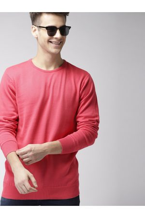Mast & Harbour Men Pink Solid Pullover Sweater