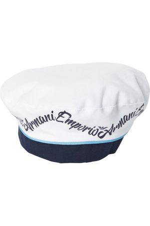 Armani Logo Printed Cotton Gabardine Beret