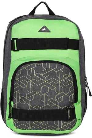 Fastrack Men Grey & Green Geometric Laptop Backpack