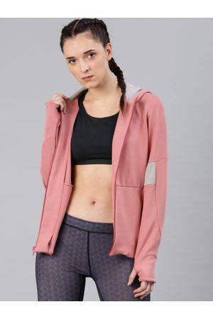 HRX Women Pink Solid Hooded Sweatshirt