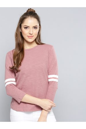 Harpa Women Dusty Solid Round Neck T-shirt