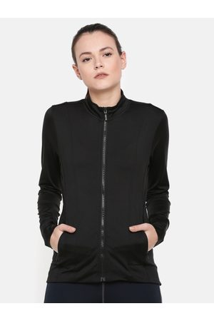 ENAMORA Women Black Solid Open Front Sporty Jacket