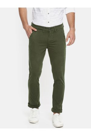 Pepe Jeans Men Olive Green Regular Fit Solid Chinos