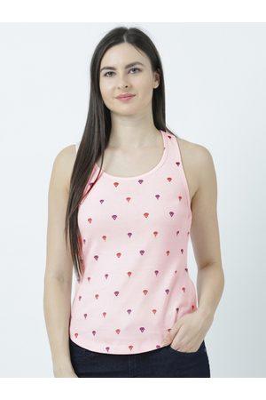 Huetrap Women Pink Printed Tank Top