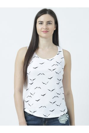 Huetrap Women White Printed Tank Top