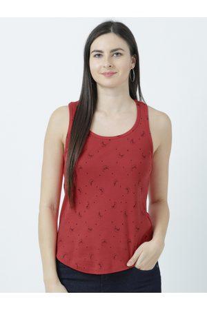 Huetrap Women Red Printed Tank Top