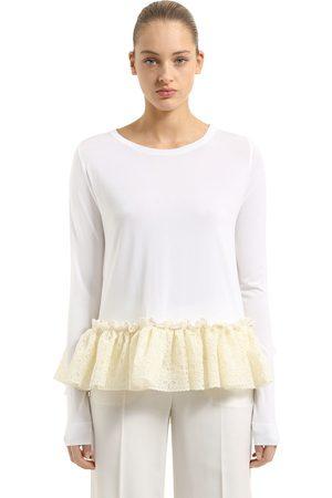 ANTONIO BERARDI Knit Sweater With Ruffled Lace Hem