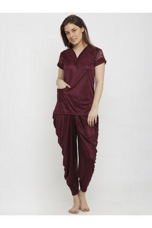 Pretty Awesome Women Pyjamas - Women Solid Night suit PTASXL161