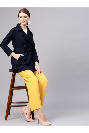 STREET 9 Women Navy Blue Solid Double-Breasted Trench Coat