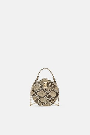 9072b9ef5b Zara Women Shoulder Bags - ROUND SNAKESKIN PRINT CROSSBODY BAG