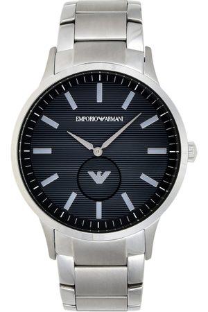 Emporio Armani Men Navy Blue & Silver-Toned Analogue Watch
