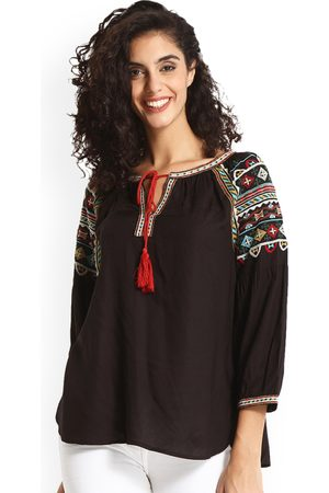 Gipsy Women Black Solid Top