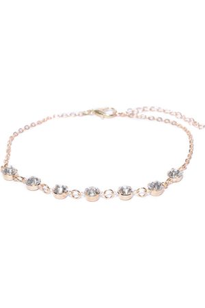 OOMPH Women Gold-Toned Handcrafted Crystal-Studded Anklet