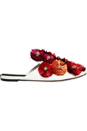 SANAYI313 10mm Flora Raffia Flowers Canvas Mules