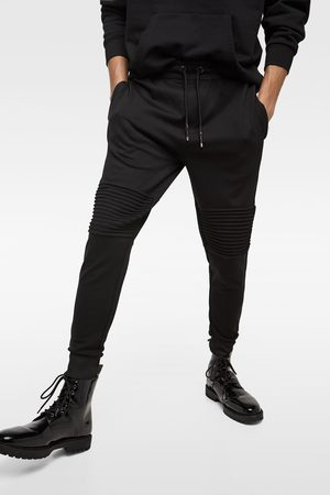 Zara JOGGING TROUSERS WITH FAUX LEATHER SIDE STRIPES