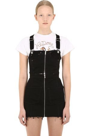 RE/DONE Zipped Denim Overalls Mini Dress