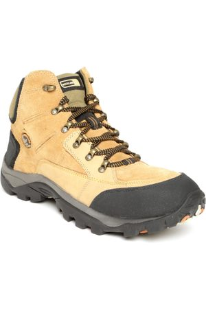 Woodland Men Mustard Yellow Solid Leather Mid-Top Sneakers