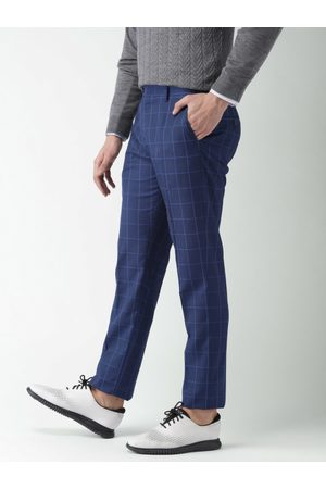 Invictus Men Blue Slim Fit Checked Formal Trousers