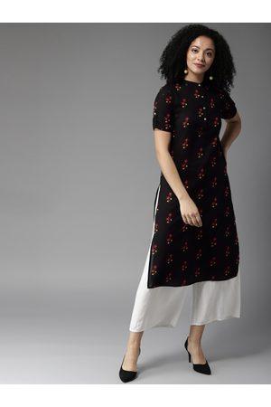 HERE&NOW Women Black & Red Printed Straight Kurta