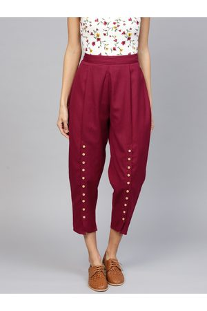 Libas Women Maroon Straight Fit Solid Cropped Trousers