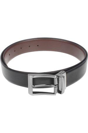 amicraft Men Black & Brown Leather Reversible Textured Belt ACDMSH