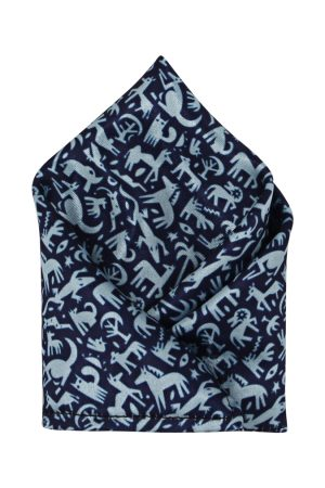 Blacksmith Men Handkerchiefs - Men Navy Blue Printed Pocket Square