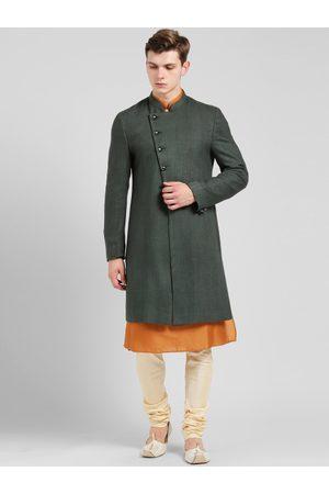 KISAH Men's Green, Orange & Cream-Coloured Sherwani Set