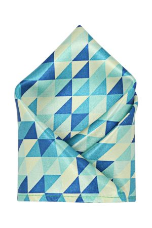 Blacksmith Men Green & Blue Printed Pocket Square