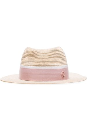 Le Mont St Michel Pink logo embellished straw hat