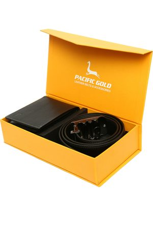 Pacific Men Leather Black Accessory Gift Set