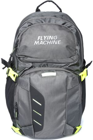 Flying Machine Men Grey Solid Laptop Backpack