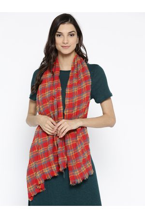 Style Quotient Women Coral Orange & Grey Checked Shawl