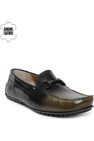 Ruosh Men Green Leather Loafers