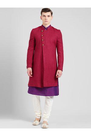KISAH Men Red, Purple & Off-White Sherwani Set