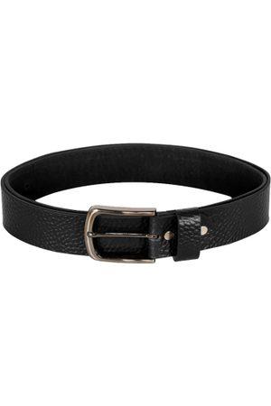 Scharf Men Black Textured Genuine Leather Belt