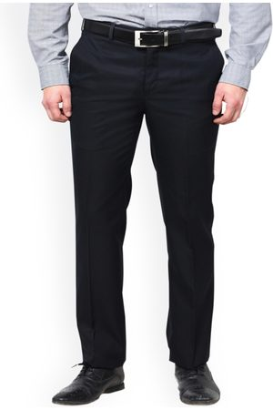 Hangup Men Blue Straight Fit Solid Formal Trousers