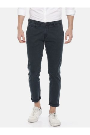 SPYKAR Men Blue Slim Fit Solid Regular Trousers
