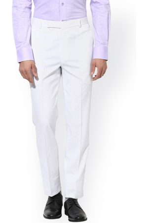 Hangup Men White Regular Fit Solid Formal Trousers