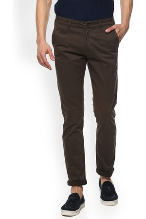 SPYKAR Men Olive Green Slim Fit Solid Regular Trousers